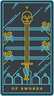 Five of Spades Tarot Card - Golden Thread Tarot Deck