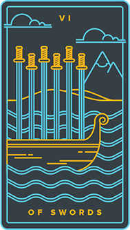 Six of Arrows Tarot Card - Golden Thread Tarot Deck