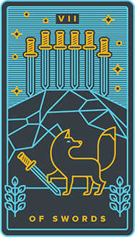 Seven of Arrows Tarot Card - Golden Thread Tarot Deck