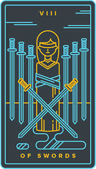 Eight of Arrows Tarot Card - Golden Thread Tarot Deck