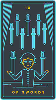 Nine of Arrows Tarot Card - Golden Thread Tarot Deck