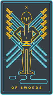 Ten of Swords Tarot Card - Golden Thread Tarot Deck