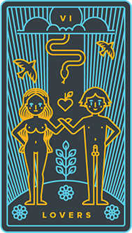 The Lovers Tarot Card - Golden Thread Tarot Deck