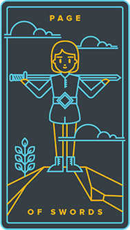 Daughter of Swords Tarot Card - Golden Thread Tarot Deck