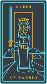 Queen of Swords Tarot Card - Golden Thread Tarot Deck