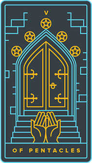 Five of Coins Tarot Card - Golden Thread Tarot Deck