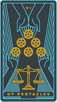Six of Pentacles Tarot Card - Golden Thread Tarot Deck