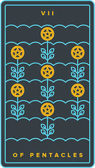 Seven of Coins Tarot Card - Golden Thread Tarot Deck