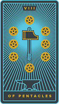 Eight of Coins Tarot Card - Golden Thread Tarot Deck