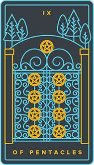 Nine of Coins Tarot Card - Golden Thread Tarot Deck