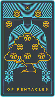 Ten of Stones Tarot Card - Golden Thread Tarot Deck