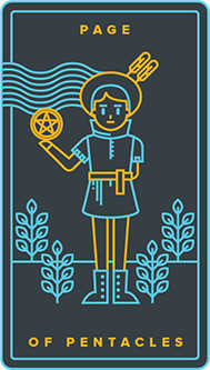 Valet of Coins Tarot Card - Golden Thread Tarot Deck