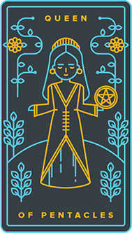 Reine of Coins Tarot Card - Golden Thread Tarot Deck