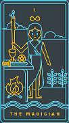 The Magician Tarot card in Golden Thread Tarot deck