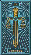 Justice Tarot card in Golden Thread Tarot deck