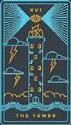 The Tower Tarot card in Golden Thread Tarot deck