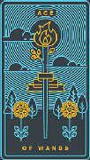Ace of Wands Tarot card in Golden Thread Tarot deck