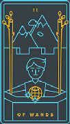 Two of Wands Tarot card in Golden Thread Tarot deck