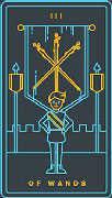 Three of Wands Tarot card in Golden Thread Tarot deck