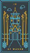 Four of Wands Tarot card in Golden Thread Tarot deck