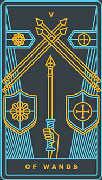 Five of Wands Tarot card in Golden Thread Tarot deck