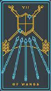 Seven of Wands Tarot card in Golden Thread Tarot deck