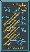 Eight of Wands Tarot card in Golden Thread Tarot deck