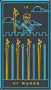 Nine of Wands Tarot card in Golden Thread Tarot deck