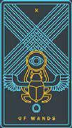 Ten of Wands Tarot card in Golden Thread Tarot deck