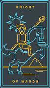 Knight of Wands Tarot card in Golden Thread Tarot deck