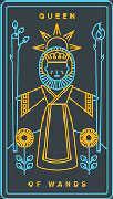 Queen of Wands Tarot card in Golden Thread Tarot deck
