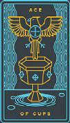 Ace of Cups Tarot card in Golden Thread Tarot deck
