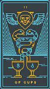 Two of Cups Tarot card in Golden Thread Tarot deck