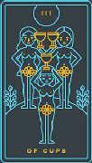 Three of Cups Tarot card in Golden Thread Tarot deck
