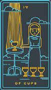 Four of Cups Tarot card in Golden Thread Tarot deck