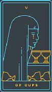 Five of Cups Tarot card in Golden Thread Tarot deck