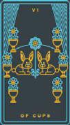Six of Cups Tarot card in Golden Thread Tarot deck