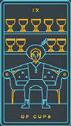 Nine of Cups Tarot card in Golden Thread Tarot deck