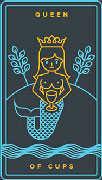 Queen of Cups Tarot card in Golden Thread Tarot deck