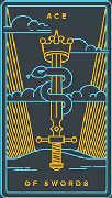 Ace of Swords Tarot card in Golden Thread Tarot Tarot deck