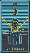 Two of Swords Tarot card in Golden Thread Tarot deck