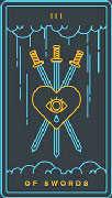 Three of Swords Tarot card in Golden Thread Tarot Tarot deck