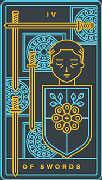 Four of Swords Tarot card in Golden Thread Tarot deck
