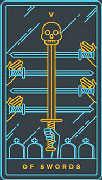 Five of Swords Tarot card in Golden Thread Tarot deck