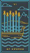Six of Swords Tarot card in Golden Thread Tarot deck