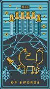 Seven of Swords Tarot card in Golden Thread Tarot deck
