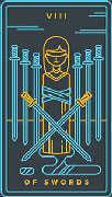 Eight of Swords Tarot card in Golden Thread Tarot deck