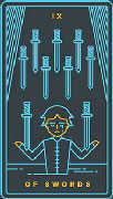 Nine of Swords Tarot card in Golden Thread Tarot Tarot deck