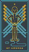 Ten of Swords Tarot card in Golden Thread Tarot Tarot deck
