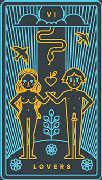 The Lovers Tarot card in Golden Thread Tarot deck